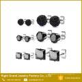Pendientes negros del oído del zircon del zircon de los pendientes del negro del acero inoxidable de 4m m 316L Shamballa