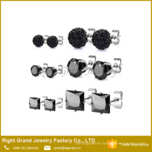 4mm 316L Stainless Steel Black Shamballa Earrings Cubic Zircon Ear Studs