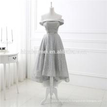 Dernière Trend Grey Off épaule court avant longue retour fil robe de soirée en dentelle