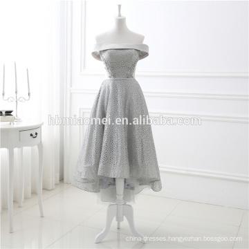 Latest Trend Gray Off Shoulder Short Front Long Back Net Yarn Evening Lace Dress