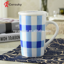 Taza de cerámica con tapa taza de café de porcelana con tapa