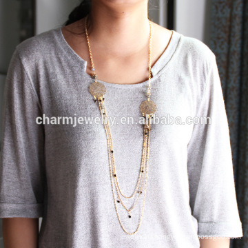 2015 NK008 Copper Sweater Chain Fashion Sweater Chain Stone wholesale Sweater Chain