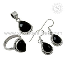 Design elegante Black Onyx Jewelry Silver Set O mais recente exportador de jóias de pedras preciosas Silver