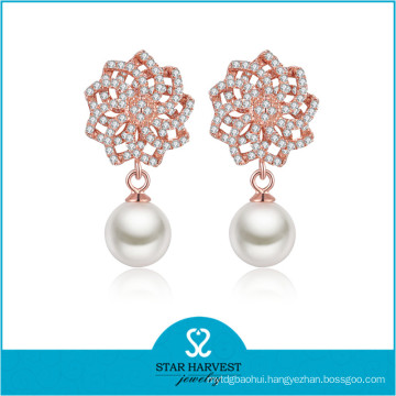 2016 Sterling Silver Rhodium Plating Pearl Earring (E-0256)