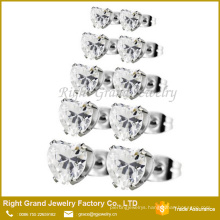 Anti - Allergic Stainless Prong Set Clear Heart Cubic Zircon Earrings