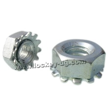 1/4-20 Lock Nut Hex K-Lock (Kep) with External Tooth Washer Steel Zinc