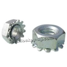 1 / 4-20 Ecrou de blocage Hex K-Lock (Kep) avec rondelle à dents externe Acier Zinc