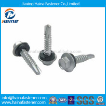 Carbon steel Hot Dip Galvanised hex washer flange self drilling screw
