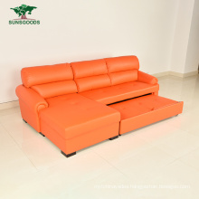 Hotel Leather L Shape Modern Bedroom Flat Wooden Furniture Sofa Bed