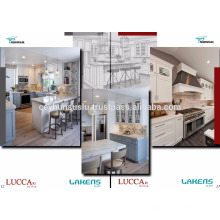 2017 Design Country Style Lacquered Gabinete de cozinha com porta moldada