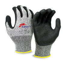 Excelente Grip Sandy Nitrile Guantes Resistentes a Cortes con Nylon HPPE Glassfiber Seamless Knitted Liner