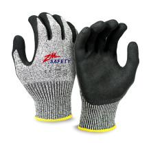 Gants résistants aux coupures résistants aux coupures Nitrile Sandy avec doublure tricotée sans couture en nylon HPPE Glassfiber