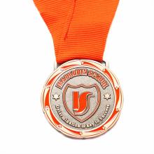 Own custom orange color ribbon enamel medals