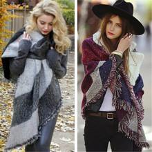 2016 Fashion Ethnic Style Cashmere Warm Fringed Plaid Shawl (50186)