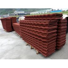 Hoja de techos de metal corrugado recubierto de piedra roja Material de construcción