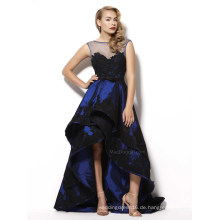 Blace Spitze Applizierte Hi-Low Royal Blue Cocktail Abendkleid