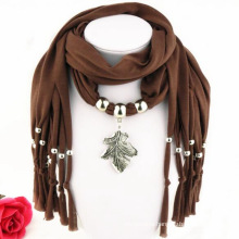 2017 China whole women elegant tassels metal leaf decorated infinity jewelry pendant scarf