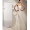 Trompette élégante sirène sweetheart train cathédrale robe de mariée en organza bowknot à plusieurs niveaux
