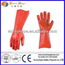 PVC vermelho totalmente revestido luva de mão