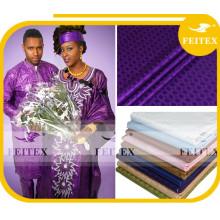 Habillement africain traditionnel de broderie de vêtements pour le tissu de coton de textile, textile de coton