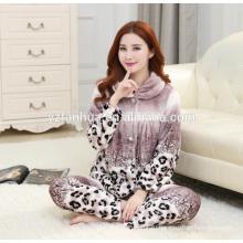 Оптовая модные леопарда печати теплый Мисси дома носить костюм