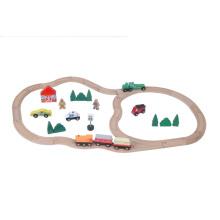 Ensemble de jeu de jouet de train ferroviaire à double anneau 45pcs