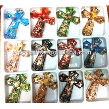 60*50mm Art Lampwork Glass cross Pendant