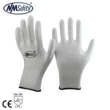 NMSAFETY 13 calibre malha revestido branco pu luvas protetoras de trabalho