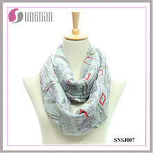 2015 Eiffel Tower Printed Voile Fashionable Infinity Scarf (SNSJ007)
