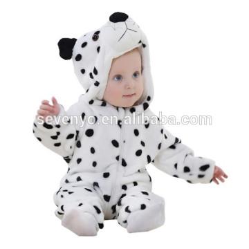 Macio do bebê Romper Animal Onesie Costume Roupa Dos Desenhos Animados Homewear desgaste do sono, flanela, desgaste branco do bebê, toalha de capuz bonito
