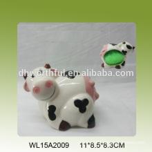 Hot selling ceramic sponge holder in lovely cow shape