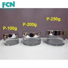 Plata de lujo de la calidad de la muestra de embalaje de plástico de crema PETG 100 ml frasco de cosméticos