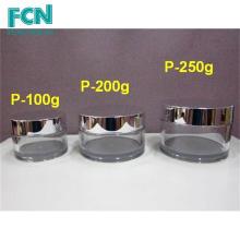 Prata de qualidade de luxo amostra de embalagem de plástico embalagem PETG 100 ml jar cosmético