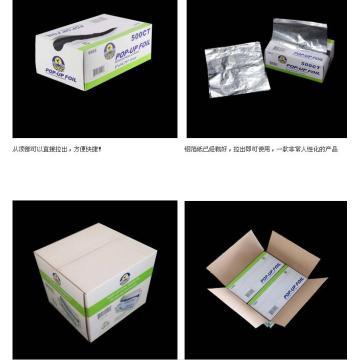 Interfolded aluminium foil pop-up sheets