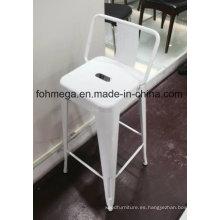 Taburete de silla de metal blanco con respaldo (FOH-BST01)