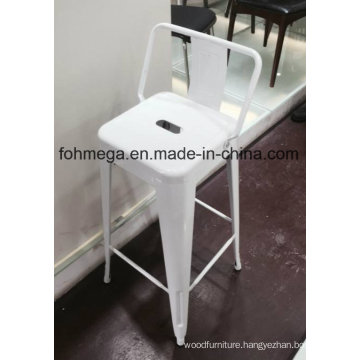 White Metal Bar Chair Stool with Backrest (FOH-BST01)