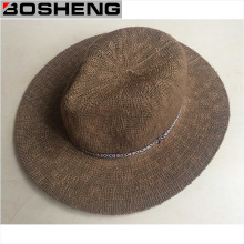 Fashion Man Summer Dark Color Fedora Straw Hat