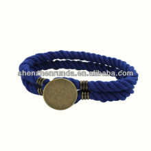 Atacado Pure Handmade Cotton Bracelets Aço Inoxidável Round Button Braceletes com Homens Âncora Jóias