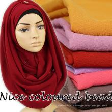 Nome do produto atacado moda barato simples bolha chiffon pérola cachecol hijab xaile