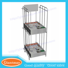 Professional design metal 2 shelf wire newspaper rack