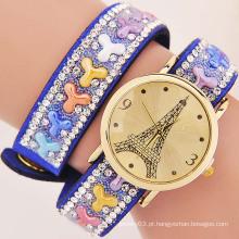 Novo produto moda Torre Eiffel Cristais naturais Pedra Vintage relógios Quartz Mulheres Relógio de pulso
