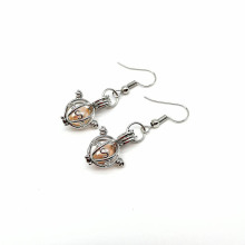 Angel Drop Earring Pearl Cage Locket Pingente Jóias