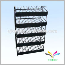Estante ajustável de arame de metal de 5 camadas para suporte de esmalte de unhas com placa de sinal
