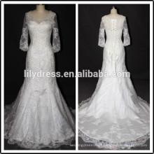 Longo SLeeve Lace White Sweetheart Decote Comprimento do Pavimento Custom Made Longo Formal Bridal BW286 vestidos de noiva amostras reais