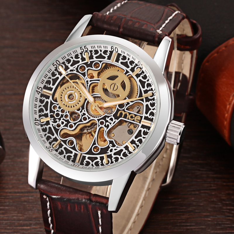 Classic leather band mechanical watch for men