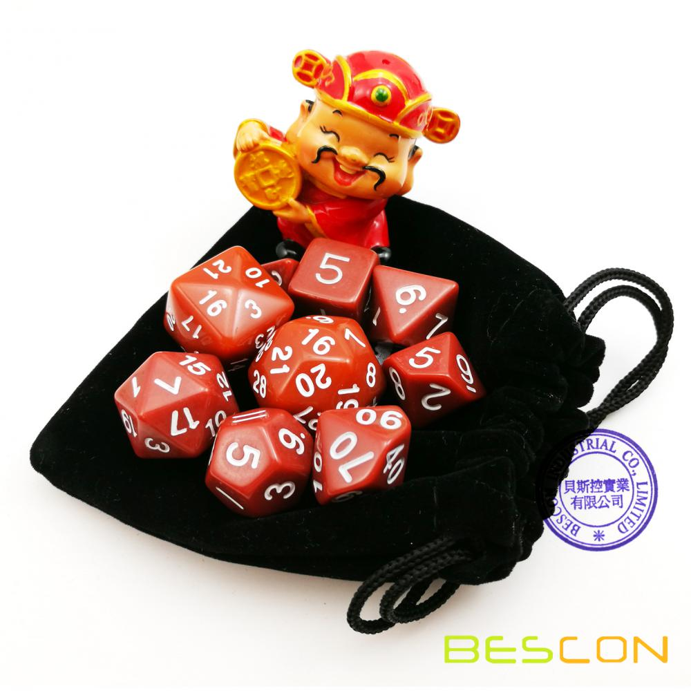 BESCON Pack of 9pcs Polyhedral Dice (9 Die in Set)- Role Playing Game Dice (RPG Dice)D4-D30 Opaque Blue