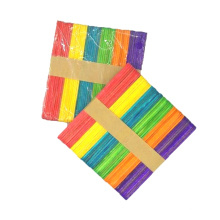 Hot sale 114mm*10mm*2mm colorful wooden diy craft  ice cream stick for kids