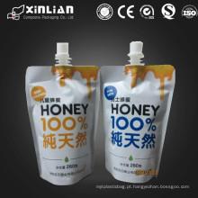 Material laminado impresso personalizado plástico stand up bolsa de bico / bolsa de embalagem líquida / suco stand up bolsa