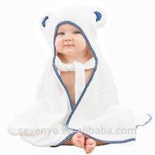 Serviette à capuchon BabyBath Towelorganic Pure bambou Swaddler antibactérien très absorbant avec des oreilles d'ours à Bath, piscine, plage