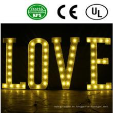 Alta calidad LED frente a la luz del bulbo del hierro Signo de la letra-Amor romántico